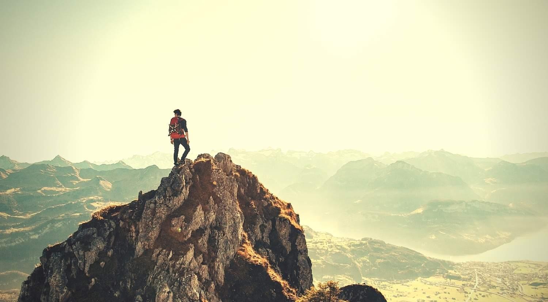 man on mountain ridge